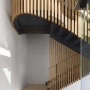 Wrapping this staircase in vertical timber slats gives architecture, handrail, interior design, stairs, timber, SAOTA, home, house