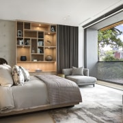 The upper floor of this contemporary home contains furniture, interior design, bedroom, , room, window, white, contemporarySAOTA,