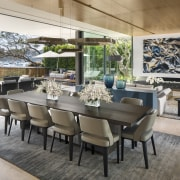 Large, slim framed glass panels open up this chair, dining room, furniture, interior design, patio, table, SAOTA