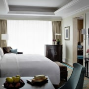 Even more traditional five star hotels such as bedroom, interior design, suite, window covering, window treatment, Langham Shenzhen