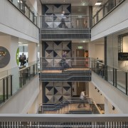 At the centre of the Transpower's head office building, daylighting, interior design, lobby, metropolitan area, gray, black