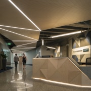 The entry lobby to Transpower's new inner-city head architecture, ceiling, daylighting, brown
