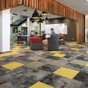 The open-plan spaces in the Centennial Building look architecture, floor, flooring, interior design, lobby, gray