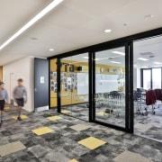 In King's School's new Centennial Building, sliding doors interior design, lobby, real estate, gray