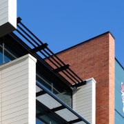 Maxi Louvre Blades from Louvretec provide sun control architecture, building, facade, house, roof, siding, window, blue