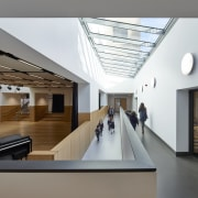 A shallow ramp leads down to the communal architecture, ceiling, daylighting, house, interior design, real estate, gray, white