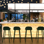 The bar at the Naumi Auckland Airport hotel furniture, interior design, restaurant, table