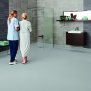 Polyflor offers modern vinyl floors to suit a floor, flooring, standing, tile, gray
