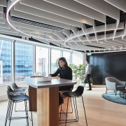 For the Suncorp fit-out, by commercial interiors experts chair, daylighting, desk, furniture, interior design, office, table, gray