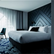 Even the bespoke bedheads in West Hotel's guest architecture, bed, bed frame, bedroom, ceiling, curtain, furniture, home, interior design, mattress, room, suite, textile, wall, window, window covering, window treatment, black, gray