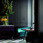 Eye-catching teal-coloured casual seating in the restaurant forms architecture, home, house, interior design, lighting, shade, window, window covering, black