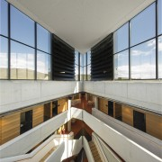 Louvres at the top of the atrium, near architecture, daylighting, interior design, real estate, window, gray