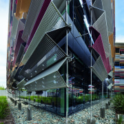 Perforated, folded aluminium blades on the workplace building architecture, building, condominium, corporate headquarters, facade, metropolitan area, mixed use, structure, black
