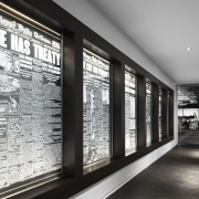 Links to the past – the wall in black and white, glass, interior design, window, walkway, Chicago Tribune,  Office fitout, Eastlake Studios