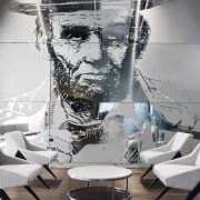 This mural on the wall of the Chicago black and white, chair, design, furniture, interior design, table, Mural wall,  Chicago Tribune, Office fitout, Eastlake Studios