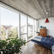Large floor-to-ceiling windows ensure the affordable apartments at apartment, architecture, balcony, home, interior design, loft, window, apartment, Bjarke Ingels Group