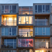Architects Bjarke Ingels Group used modular construction with apartments, architecture, balcony, building, condominium, facade, home, house, mixed use, Bjarke Ingels Group, modular
