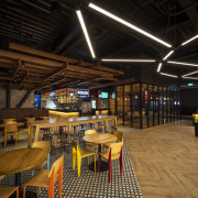 The Hoyts cinema lobby at the new EntX interior design, black, brown