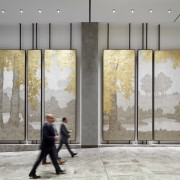 A walk in the forest – art panels floor, flooring, lobby, tourist attraction, window, gray