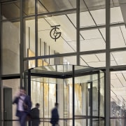 The new Collins Street entry to the T&G architecture, building, facade, glass, structure, window, gray, black