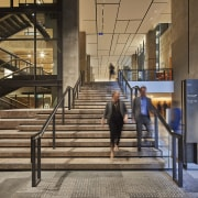 Reinvention of Melbourne's T&G Building improves pedestrian flow architecture, building, glass, stairs, black, brown