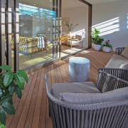 Generous timber decks are part of the offering balcony, home, interior design, outdoor structure, timber deck, St Marks Residences, Dominion Constructors, Outdoor living