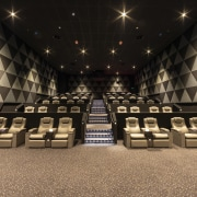 The EntX Entertainment Centre has quiet, warm cinemas auditorium, flooring, function hall, interior design, black, brown