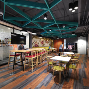 As part of the colourful Microsoft KL fit-out, interior design, real estate, restaurant, black