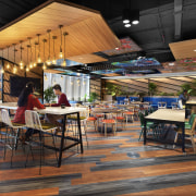 Colour and sense of movement abound in the café, food court, interior design, restaurant, black