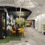 The new offices for Microsoft KL eschew corporate ceiling, interior design, lobby, gray