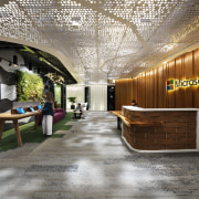 With a cave-like surround to the information screen architecture, ceiling, interior design, lobby, gray, brown