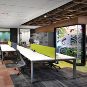 Workspaces, open collaboration spaces and meeting rooms all interior design, office, real estate, gray, black
