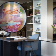 In the study of this fully renovated Sydney building, design, furniture, interior design, office, room, table, gray, black