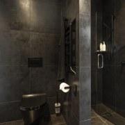 Given the through nature of this bathroom, it architecture, bathroom, floor, flooring, tiles, plumbing fixture, shower, black, Celia Visser Design