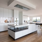 ​​​​​​​Clean-lined, crisp, and catering to all members of architecture, cabinetry, countertop, benchtop, design, floor, flooring, timber, hardwood, kitchen, wood, wood flooring, Akzente, Poggenpohl, Lara Farmilo