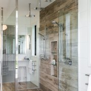 ​​​​​​​His and hers – he likes the shower bathroom, floor, flooring, glass shower, tile, yellowfox, double shower