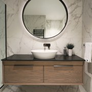 Elite supplied this wood vanity with custom edging architecture, bathroom, bathroom accessory, bathroom cabinet, floor, furniture, interior design, marble, material property, mirror, plumbing fixture, room, sink, table, tile, gray, white