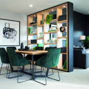 ​​​​​​​In this new Rotokauri Rise showhome by GJ design, dining room, floor, flooring, furniture, green, home, house, interior design, living room, dining , table, Resene, GJ Gardner