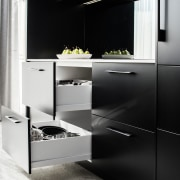 ​​​​​​​One way to gain storage in your kitchen black, black-and-white, cabinetry, countertop, cupboard, door, drawer system, furniture, gloss, kitchen, kitchen stove, cabinety, sink, tap, tile, black, white, Impact Kitchens