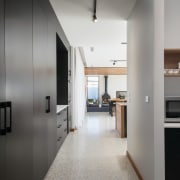 ​​​​​​​Back of house – on this design the black-and-white, floor, flooring, furniture, hall, interior design, black, Impact Kitchen, pantry, Impact Kitchens