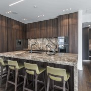 The rich Sienna marble seen on this kitchen's architecture, cabinetry, countertop, design, floor, flooring, furniture, hardwood, interior design, kitchen, wood flooring, Studio Italia