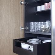 Over-extending soft-close cabinet door hinges provide for easy, Kitchen, Drawer, storeage, black, interior design, shelf, Eliska Lewis Architects