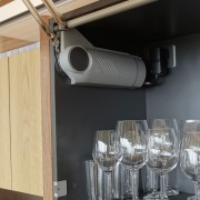 Highly-organised – upper cabinet doors open outwards and barware, drinkware, furniture, glass, interior design, kitchen, timber,  cabinetry, Eliska Lewis Architects
