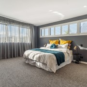 ​​​​​​​The designers wanted to add colour to this bedroom, carpet, furniture, home, house, interior design, bedroom, suite, window treatment, yellowfox, resene paints