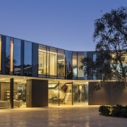 To make the most of unobstructed views of architecture, building, design, facade, glass, windows, courtyard, home, house, interior design, real estate, sky, blue