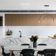​​​​​​​In this kitchen by Urbane Projects the timber-faced architecture, black-and-white, design, dining room, furniture, interior design, kitchen, table, white, Urban Projects, Kitchen