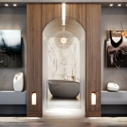 ​​​​​​​A sculptural slipper bath takes centre stage in bathroom, doorway, arch, floor, flooring, tile, gray, freestanding bath, wood veneer, kohler