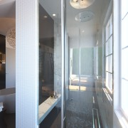 ​​​​​​​This shower zone is open at both ends architecture, floor, glass, house, interior design, Shower zone, spa bath