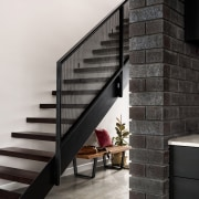 ​​​​​​​Past and present – jarrah treads, repurposed from architecture, brick, building, concrete, daylighting, floor, handrail, home, house, interior design, line, material property, property, room, stairs, wall, black, white