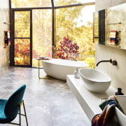 ​​​​​​​Reworked atrium windows with less fenestrations improves the architecture, bathroom, bathtub, tiled floor, flooring, furniture, home, house, interior design, table, tiled walls, freestanding bath,  wallhung vanity,  Darren James